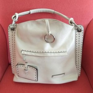 Bcbgmaxazria  white cream leather satchel